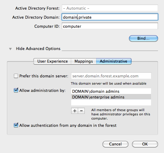 OS X: Add local admin rights to an (Active) Directory user