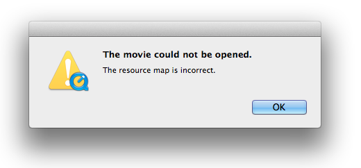 The movie could not be opened. The resource map is incorrect