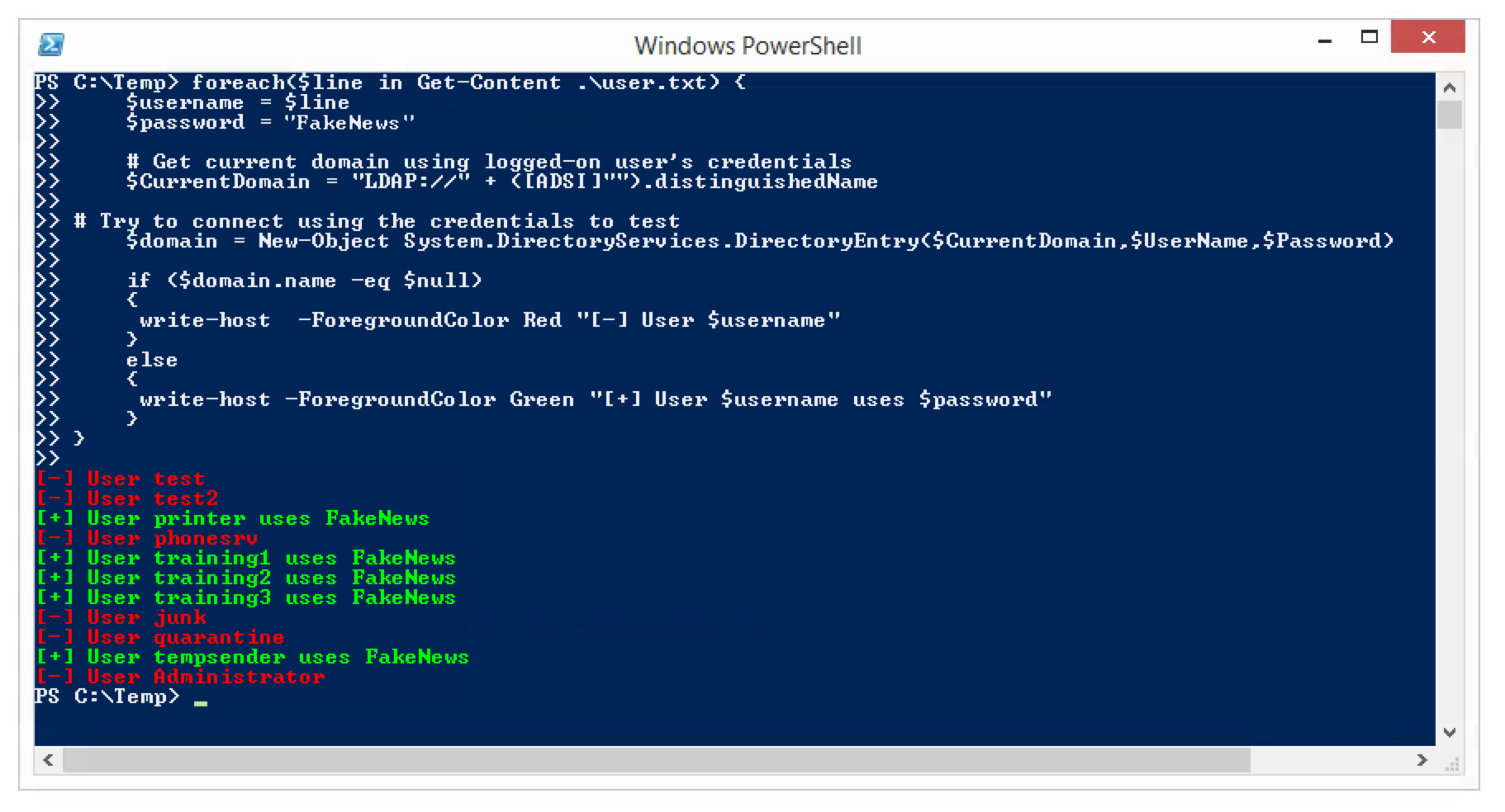 Checking AD Users for a Standard Password with PowerShell » #bogner sh